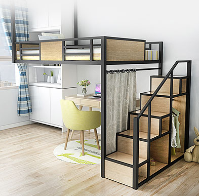 铁床厂家,宿舍公寓床,上床下柜组合床,