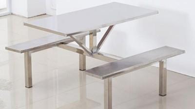 4人不锈钢连体餐桌椅